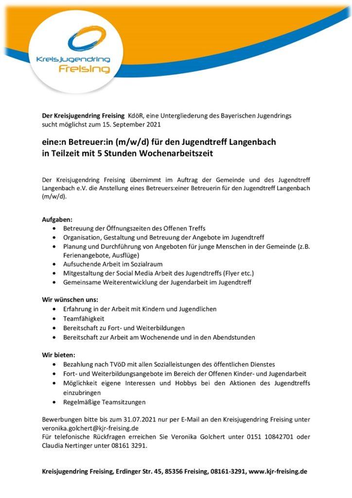 Gesucht: Betreuung für Jugendtreff Langenbach. 5 Wochenstunden. Bei interesse anrufen unter 08161 32 91