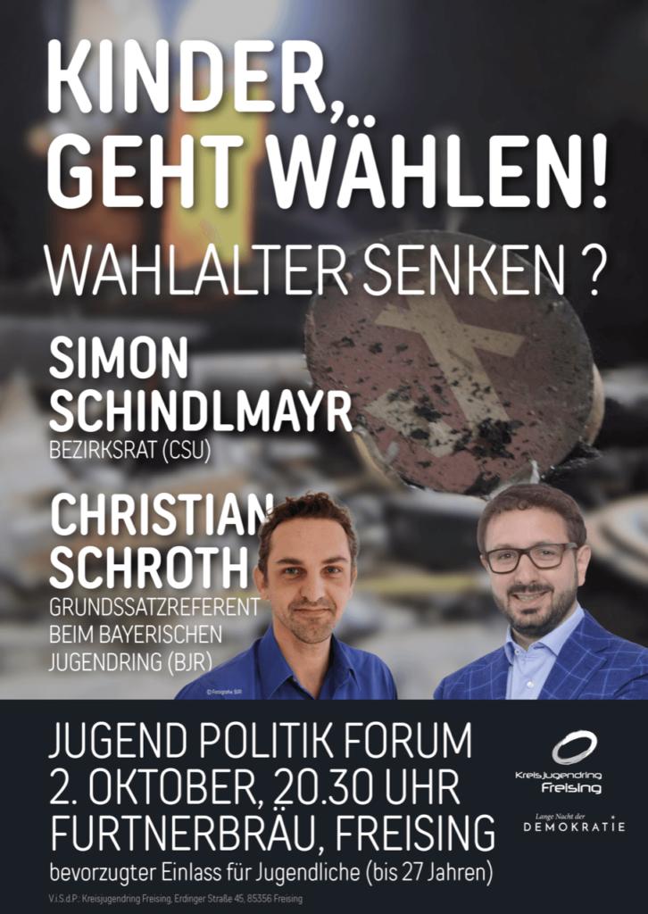"Jugendpolitikforum zjm Thema ""Wahlalter senken"" am 2. Oktober um 20:30 Uhr im Furtnerbräu Freising"